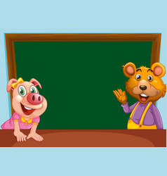 animal with chalkboard banner vector image