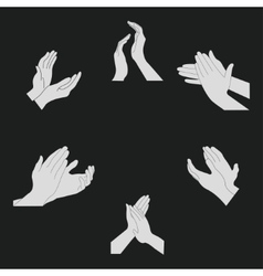Applause set clapping hands vector