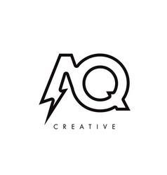 Aq letter logo design with lighting thunder bolt vector