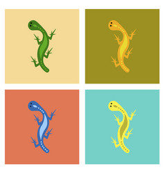 Assembly flat icons lizard reptile vector