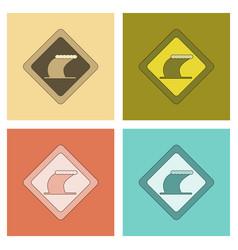 Assembly flat icons tsunami sign vector