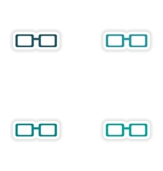 Assembly realistic sticker design on paper eyewear vector