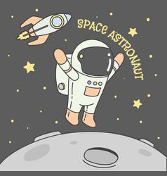 Astronaut rocket moon star in space vector