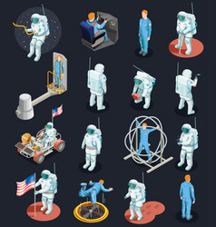 Astronauts isometric characters set vector