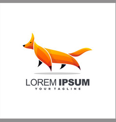 awesome gradient fox logo design vector image