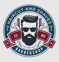 Barbershop vintage label badge or emblem vector