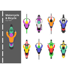 bike bicycles top overhead topping view motorbike vector image