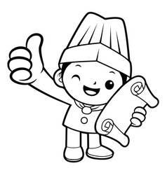 black and white happy chef mascot receive an vector image