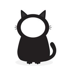 Black kitten cat face frame template for photo vector