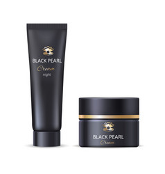 Black pearl night face or hand cream bottle tube vector