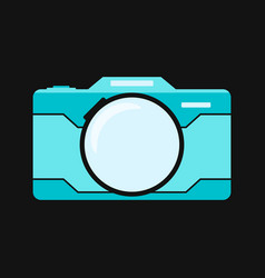 blue flat camera isolated on black background vector image