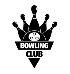 bowling old club logo simple style vector image