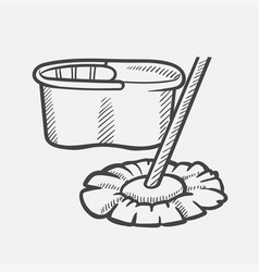 bucket and mop hand drawn sketch icon vector image