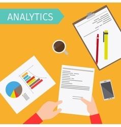 Business analytics top view vector