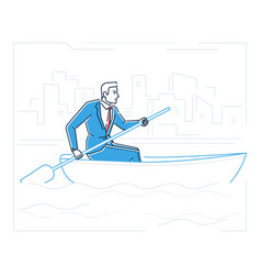 Businessman rowing a boat - line design style vector