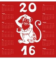 Calendar 2016Chinese zodiac monkey vector image