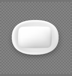 Cartoon isolated white rounded soap on holder vector