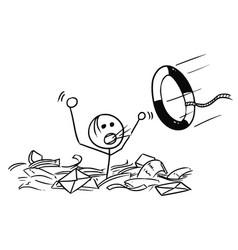 Cartoon man drowning in paper work vector