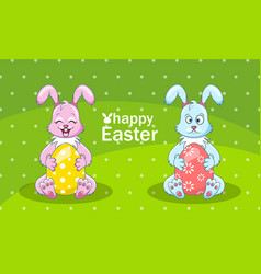 cartoon rabbits couple with eggs for happy easter vector image