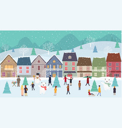 christmas winter wonderland landscape with vector image