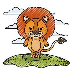 Color crayon silhouette scene caricature lion vector
