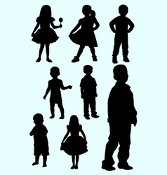 Cute toddler silhouette style vector