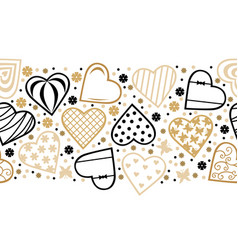decorative hearts horizontal pattern seamless for vector image