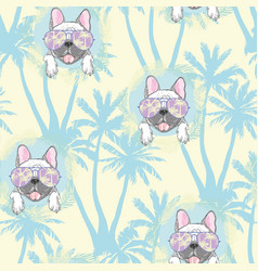 Dog french bulldog heart sunglasses glasses icon vector