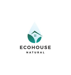 drop water eco house logo icon vector image
