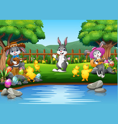 easter background with bunnies and baby chick on t vector image