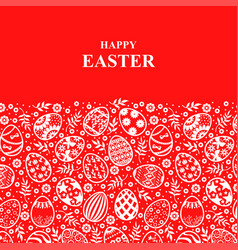 Easter card with decorative eggs ornament vector