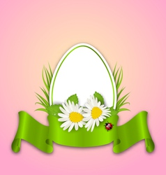 Easter paper egg with flowers daisy grass vector