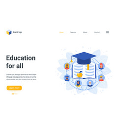 education for all landing page cartoon vector image