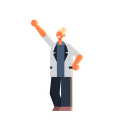 excited businesswoman holding raised arm business vector image