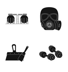 Factory gas mask and other web icon in black vector