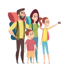 family making photo selfie tourists vacation vector image
