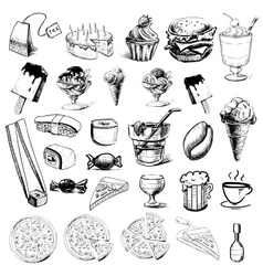 Fast food and drinks collection vector image vector image