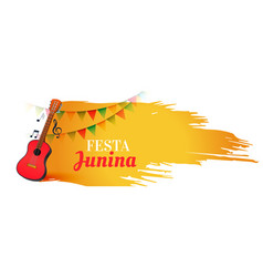 festa junina music festival banner with guitar vector image