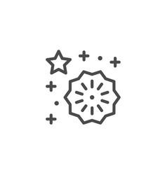 Festive fireworks line outline icon vector