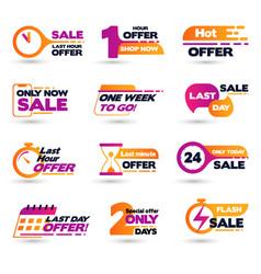 Flat design last hour sale labels vector