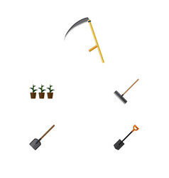 Flat icon dacha set of harrow flowerpot spade vector