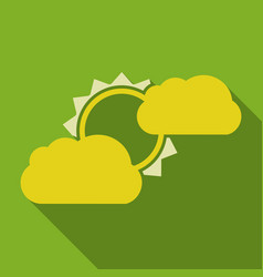 Flat sun and cloud weather web icon with long vector