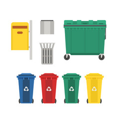 Garbage bins and trash cans set vector