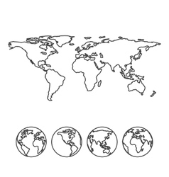 Gray outline map of the world with globe icons vector