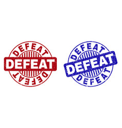 Grunge defeat scratched round watermarks vector