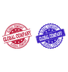 grunge scratched global company seal stamps vector image