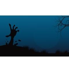 Halloween hand zombie in land vector