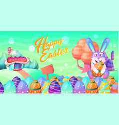 happy easter easter bunny and egg in field vector image