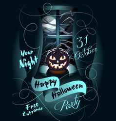 happy halloween poster pumpkin on the windowsill vector image