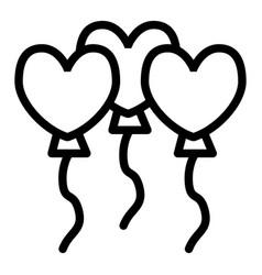 heart balloons line icon festive balloons vector image